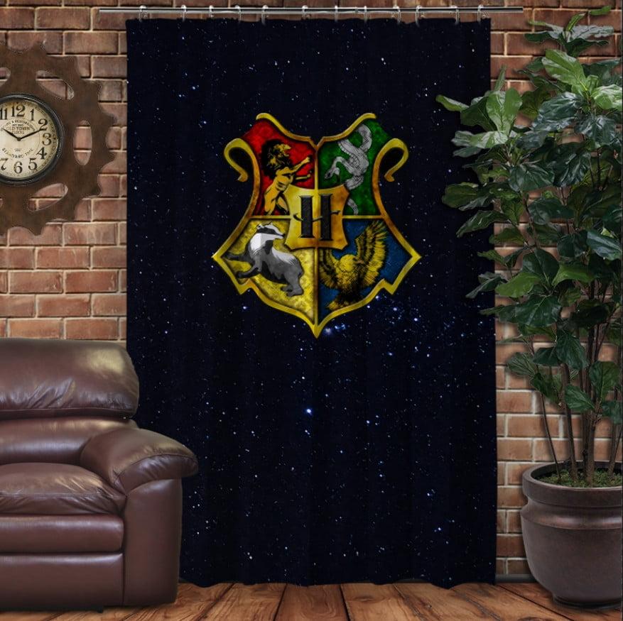 Штора с 3D принтом на тему - Гарри Поттер и Эмблема факультетов