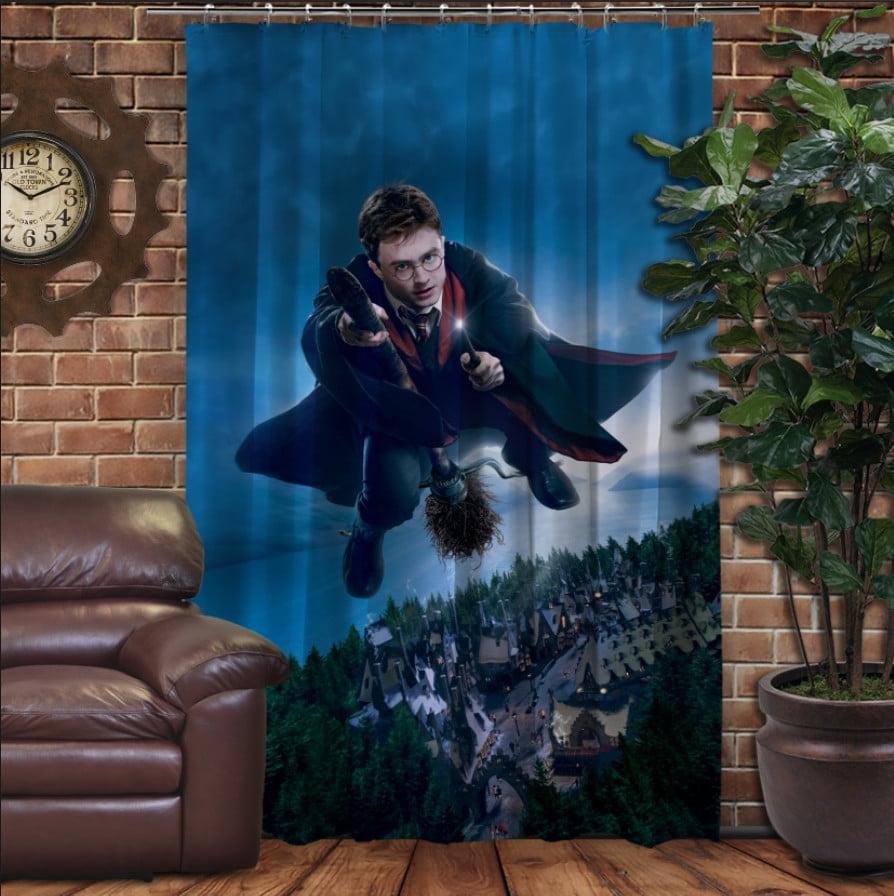Штора с 3D принтом на тему - Гарри Поттер и Нимбус 2000