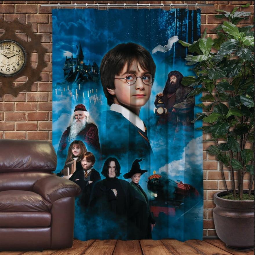 Штора с 3D принтом на тему - Гарри Поттер и Философский Камень