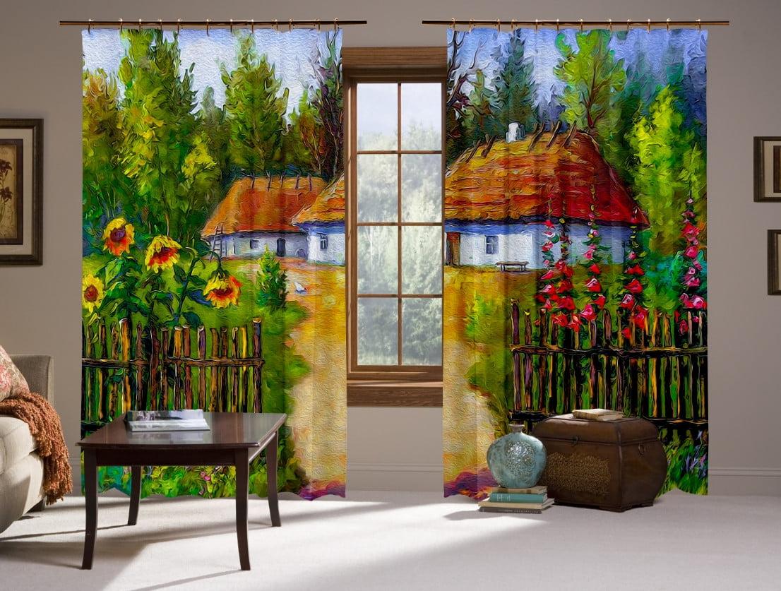 Шторы с 3D принтом на тему: Украинский дом 3