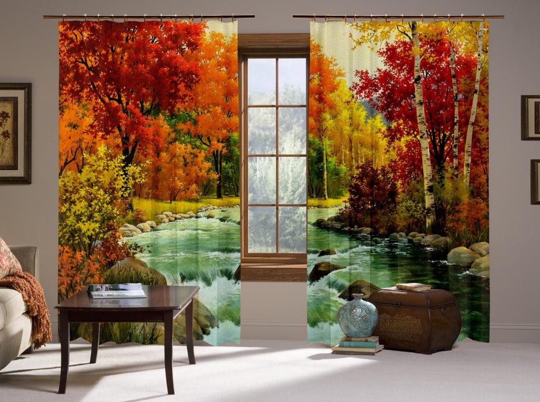 Шторы с 3D принтом на тему: Осенний лес и река