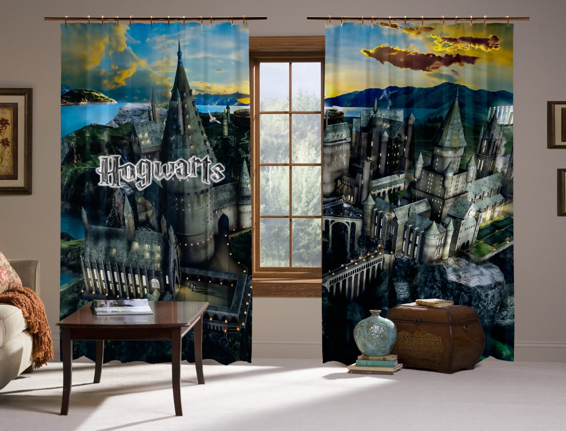 Шторы с 3D принтом на тему: Школа Хогвартс. Howard's school