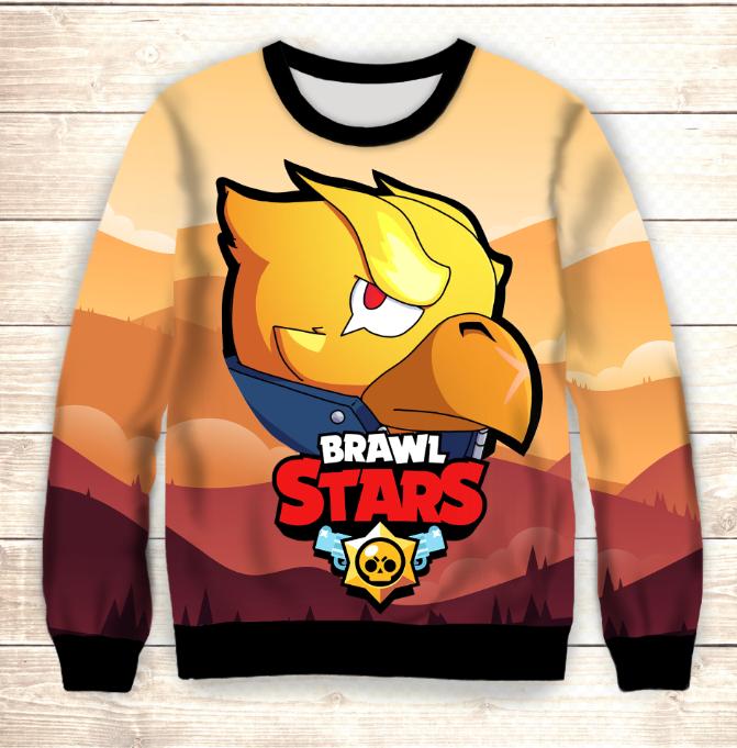 Свитшот 3D Gold Crow Brawl Stars
