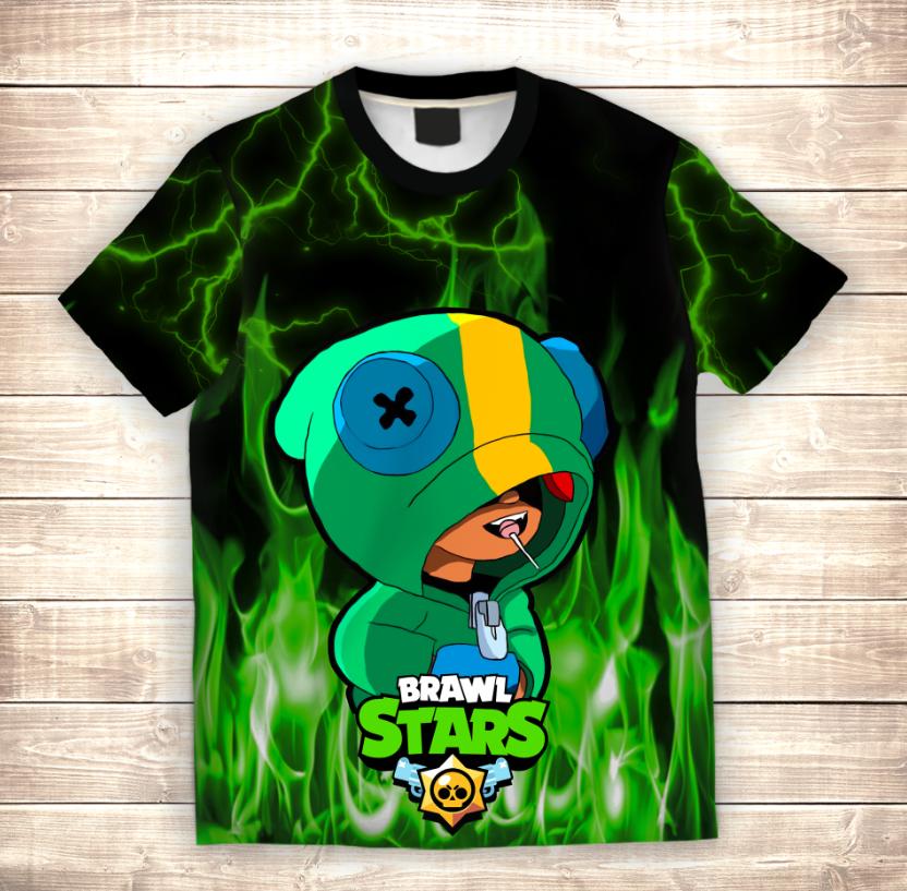Футболка 3D LEON Green Fire Brawl Stars