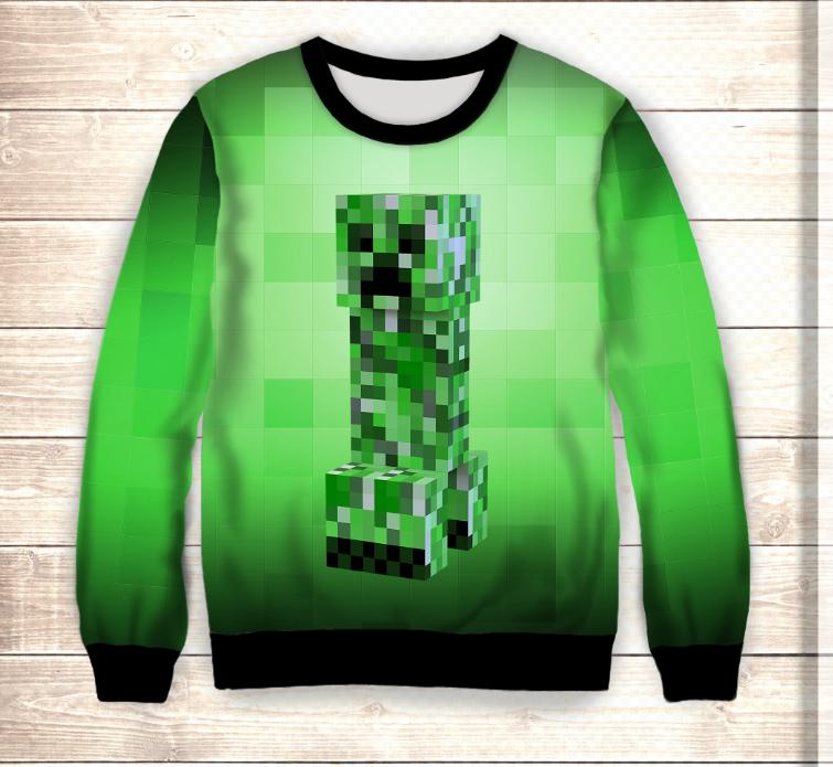 Свитшот 3D Minecraft / Свитшот майнкрафт Крипер