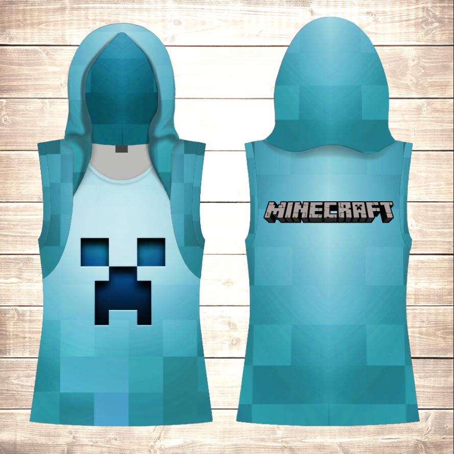 Майка 3D с капюшоном Minecraft Logo Blue