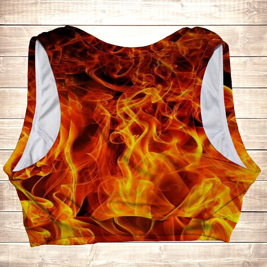 Топ спортивный с 3Dпринтом на тему: Огонь. все размеры