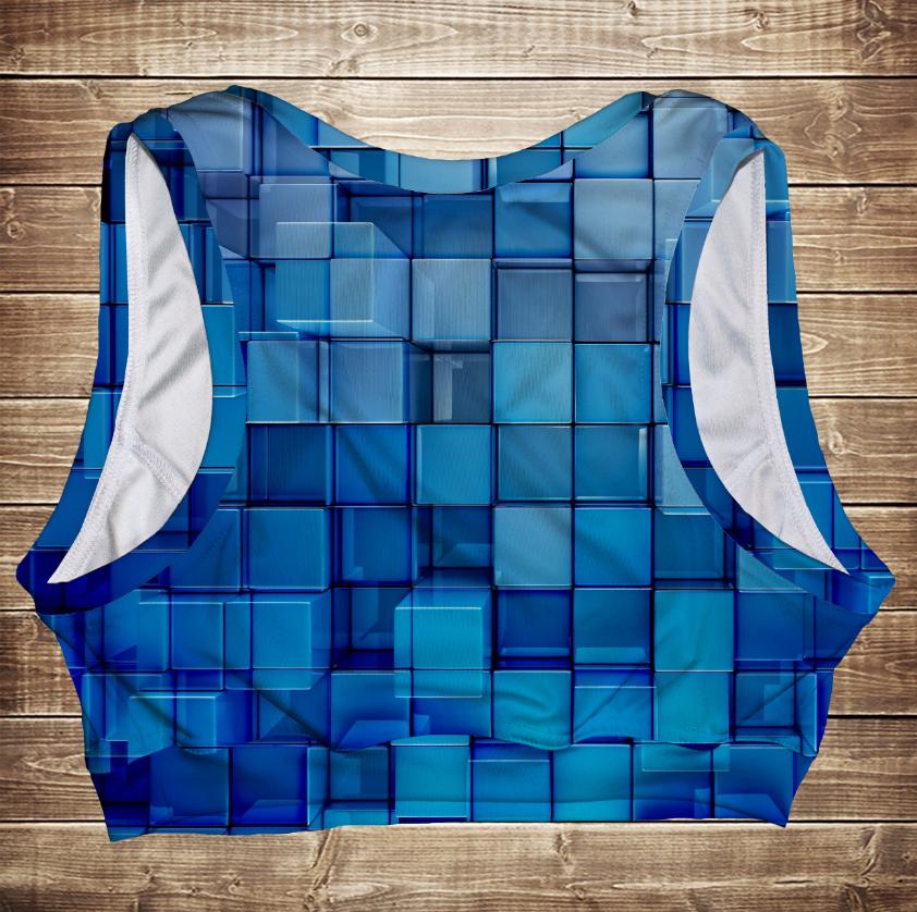Топ спортивный 3D Голубые кубики