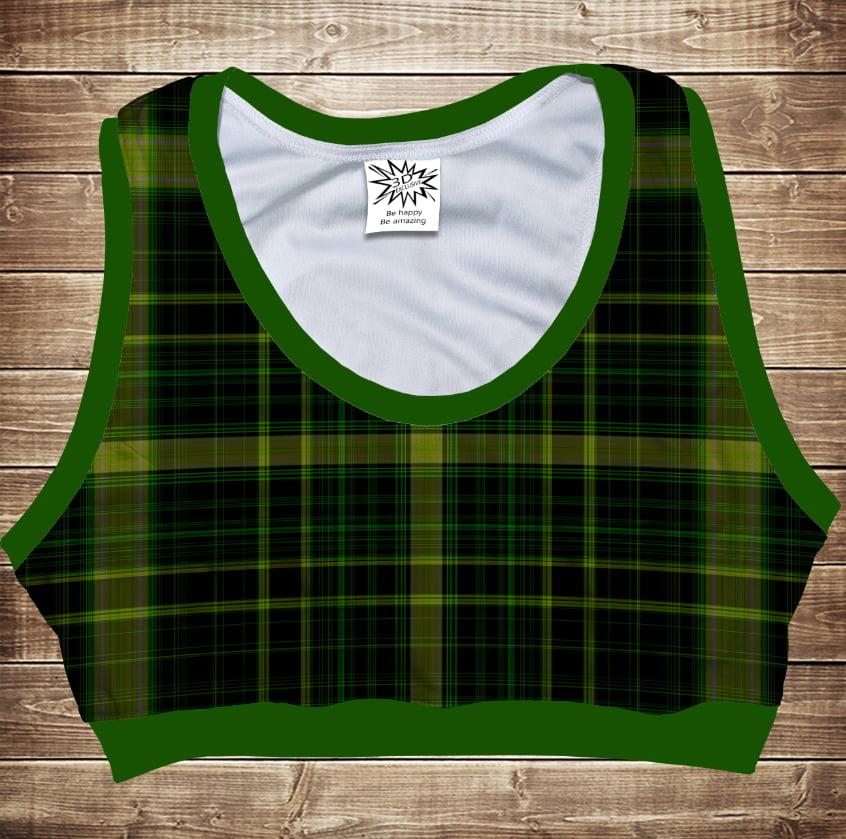 Топ спортивный 3D Green tartan