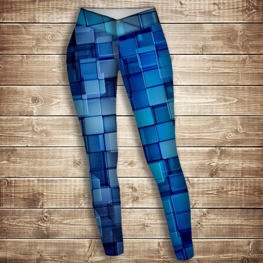 Лосины 3D-Голубые кубики