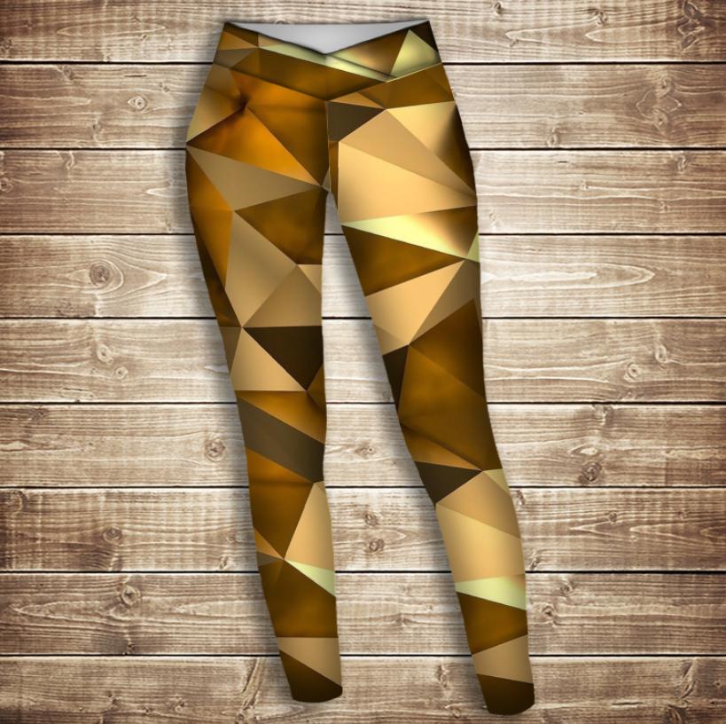 Лосины 3D-Золотой кубизм