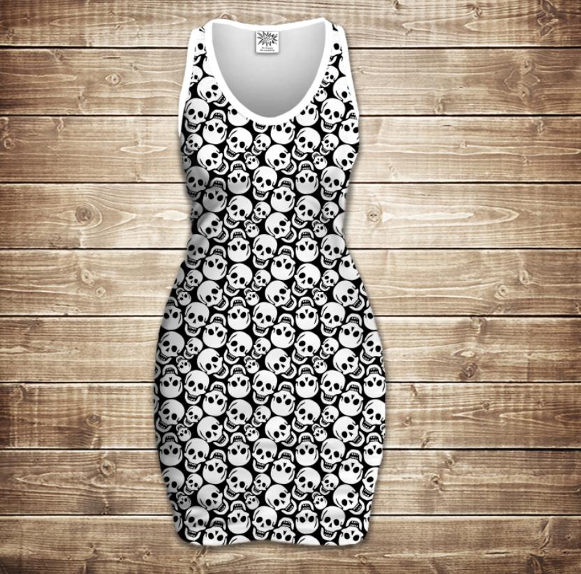 Платье-майка 3D-Sculls white