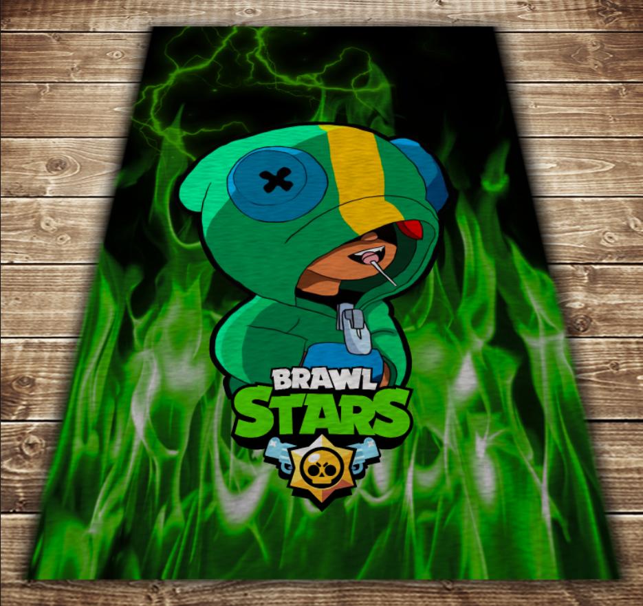 Плед с 3D принтом-Бравл Старс Леон Зеленый огонь Brawl Stars