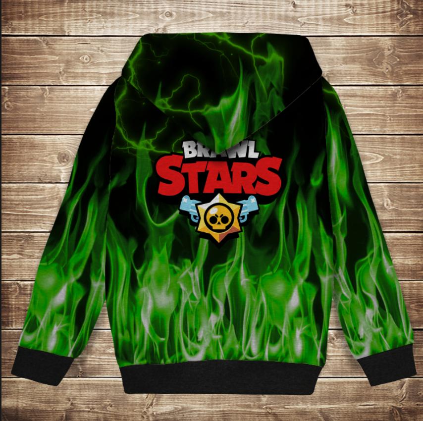 Худи теплый с 3Д принтом Бравл Старс Леон Зеленый огонь Brawl Stars