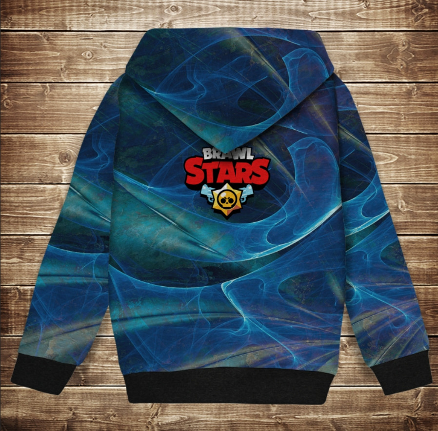 Худи теплый с 3Д принтом Leon Shark / Леон Акула Brawl Stars