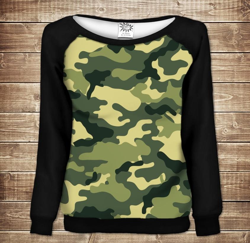 Женский свитшот - реглан с открытыми плечами с 3D принтом Camuflage classic