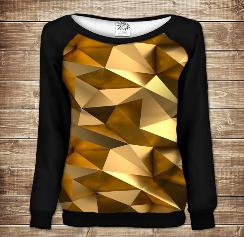 Женский свитшот - реглан с открытыми плечами с 3D принтом Золотой кубизм