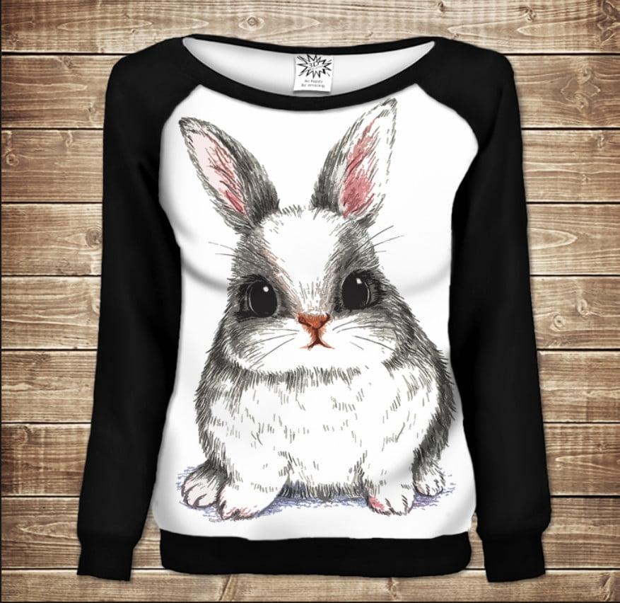 Женский свитшот - реглан с открытыми плечами с 3D принтом-следуй за белым кроликом