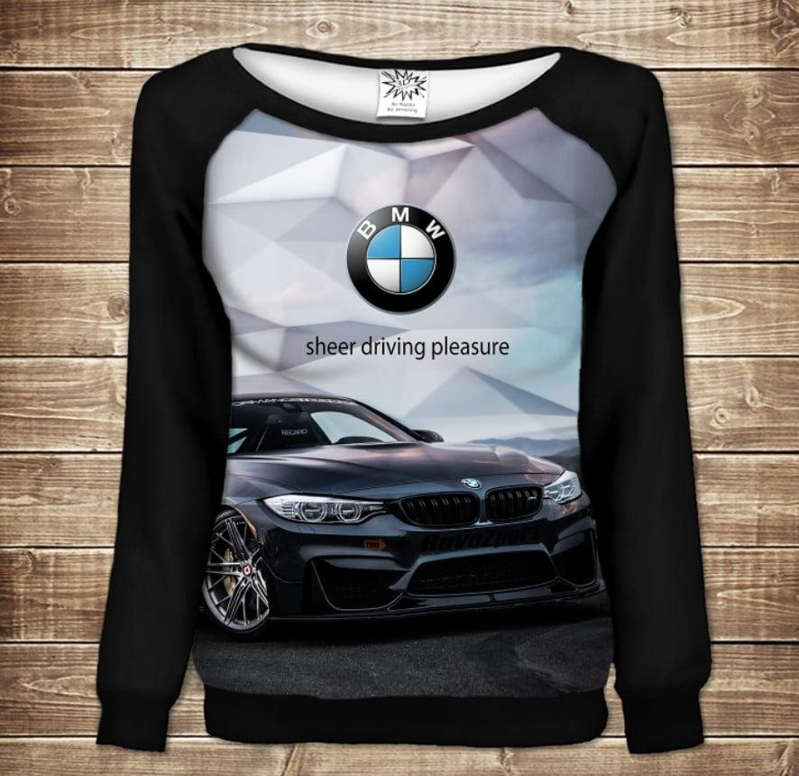 Женский свитшот - реглан с открытыми плечами с 3D принтом-BMW-2