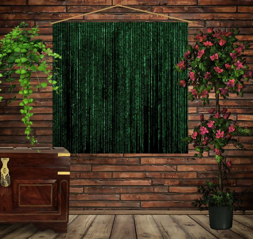 Мобильная картина-постер (гобелен) на ткани с 3D с принтом Matrix