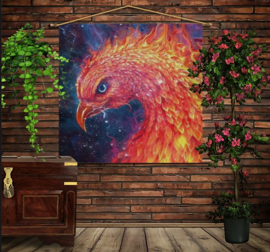 Мобильная картина-постер (гобелен) на ткани с 3D с принтом Феникс