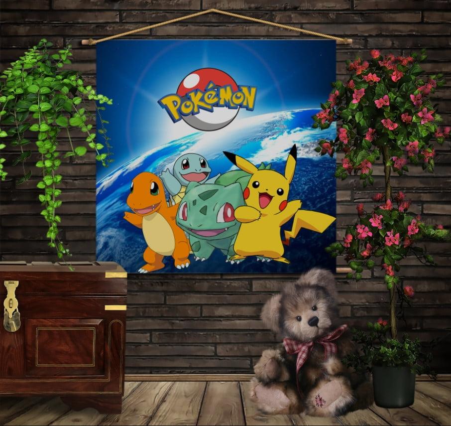 Мобильная картина-постер (гобелен) на ткани с 3D с принтом Покемоны Сериал