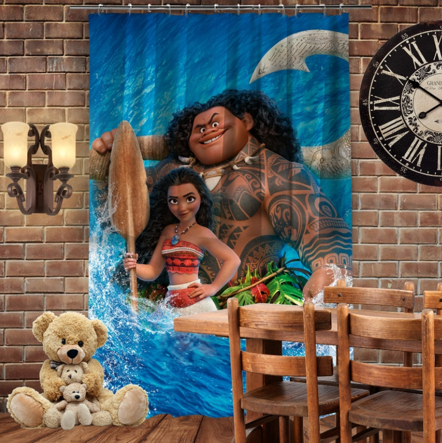 Штора 3D с принтом Moana and Maui in water