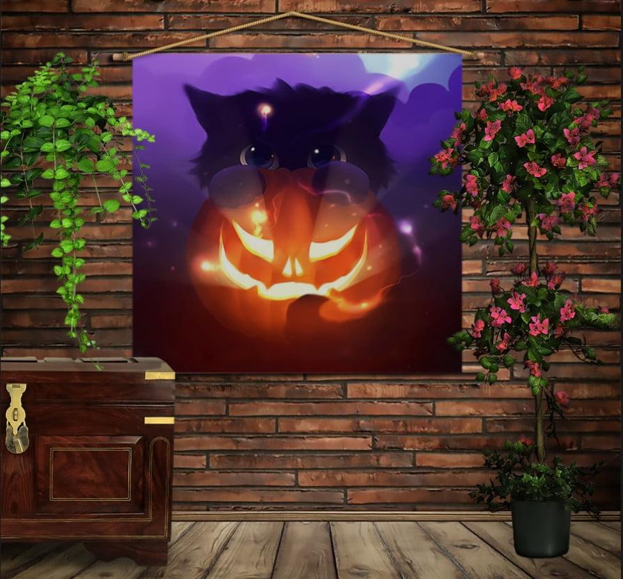 Мобильная картина-постер (гобелен) на ткани с 3D с принтом Котик и Хэллоуин