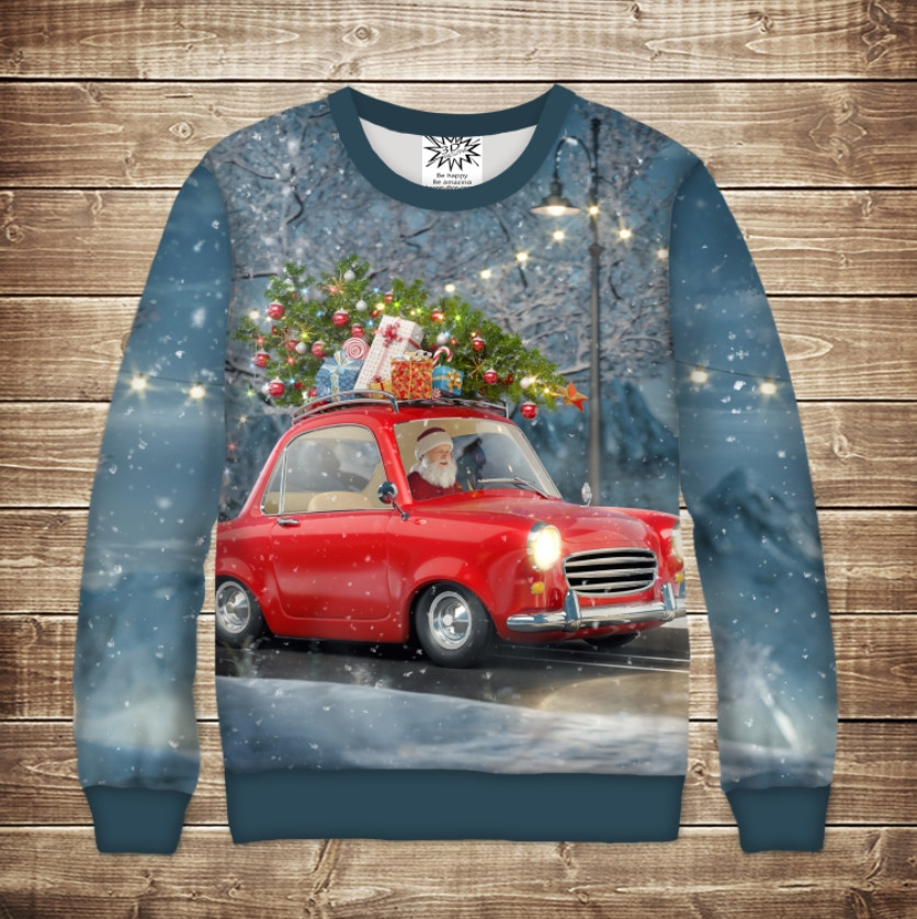 Свитшот рождественский с 3D принтом Санта Клаус на машине с елкой. Взрослые и детские размеры