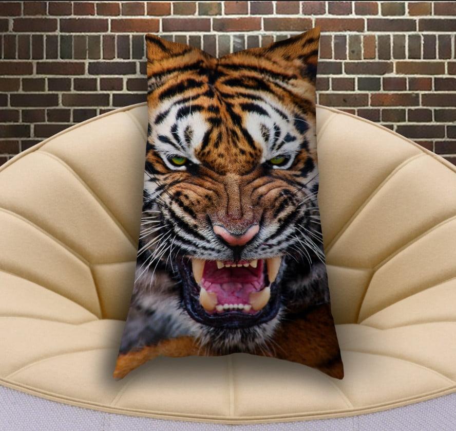 Подушка ростовая вертикальная с 3D принтом Оскал Тигра