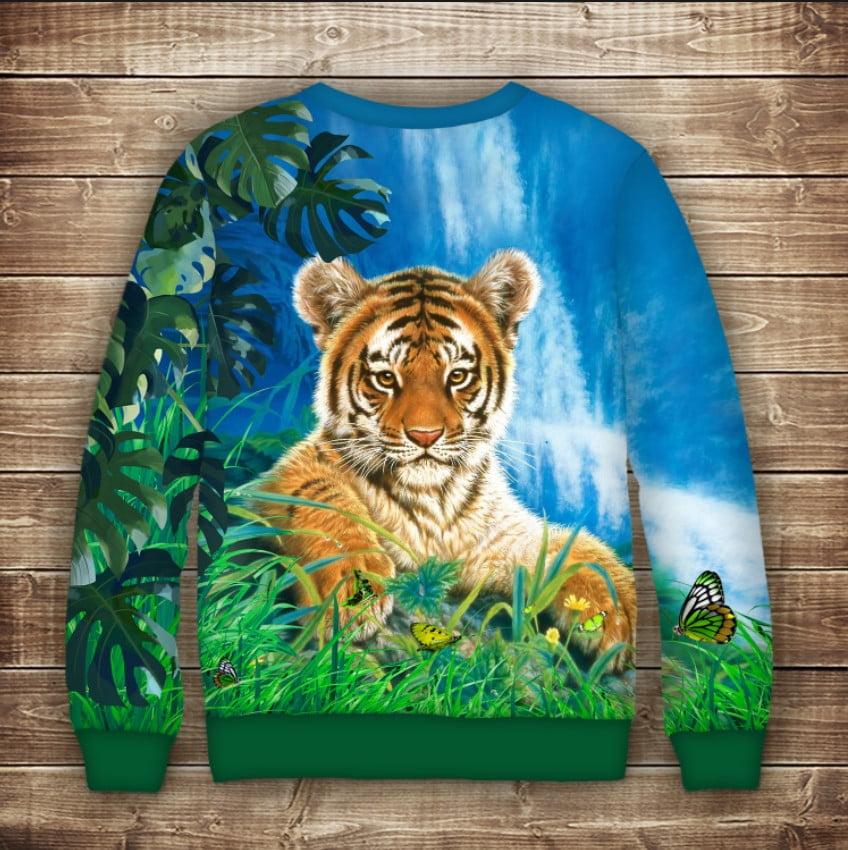 Свитшот с принтом Тигр на природе. Взрослые и детские размеры