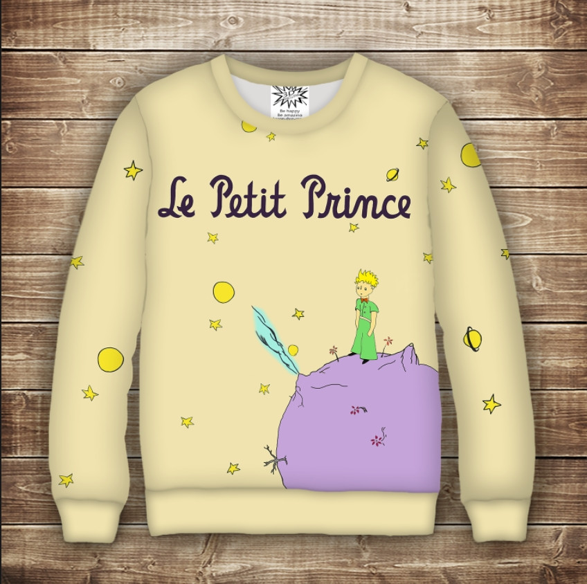 Свитшот с принтом Маленький принц и планета