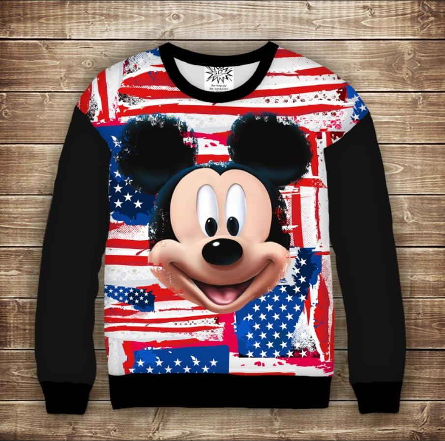 Свитшот с принтом Микки Маус и американский флаг (спущенное плечо)
