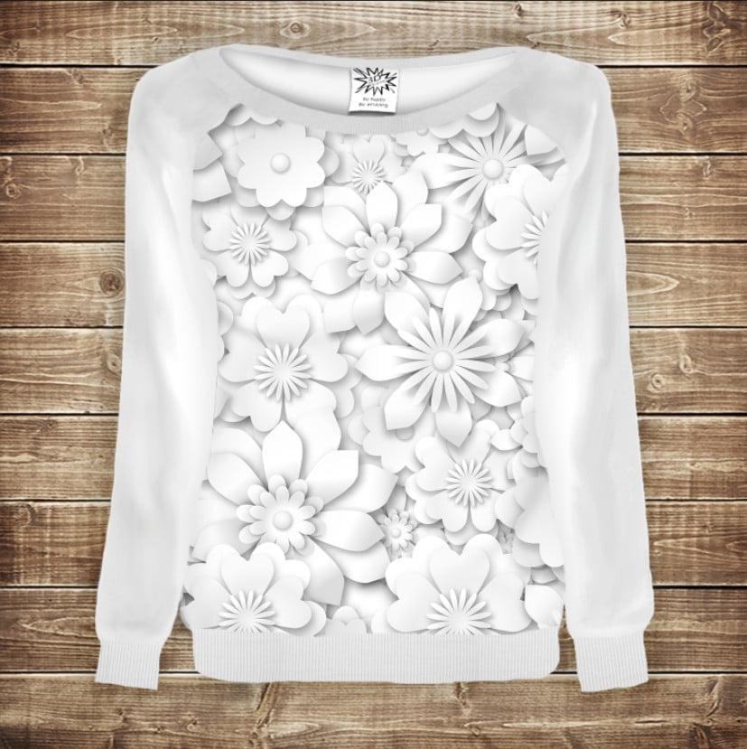 Женский свитшот - реглан с открытыми плечами с 3D принтом Белые цветы