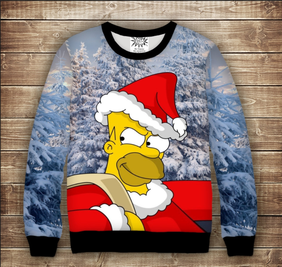 Свитшот с принтом Гомер Симпсон с мешком и в шапке Санта Клауса. Взрослые и детские размеры
