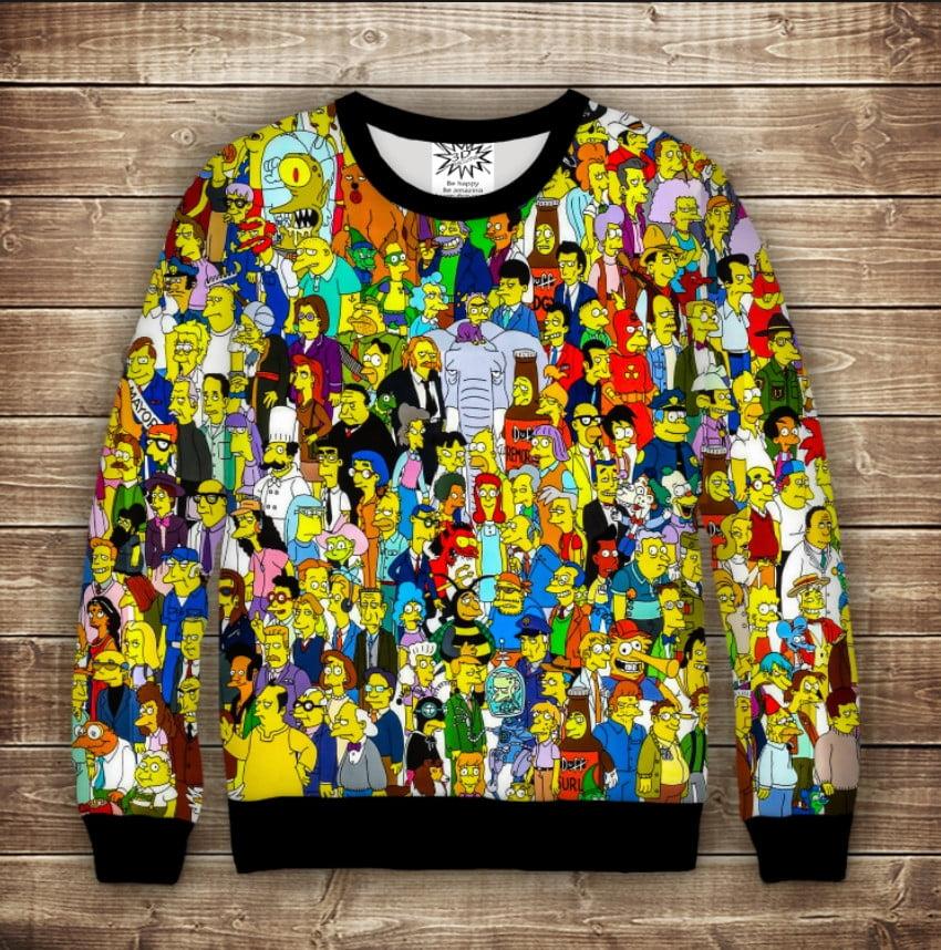 Свитшот с 3D принтом на тему: Все Симпсоны Взрослые и детские размеры