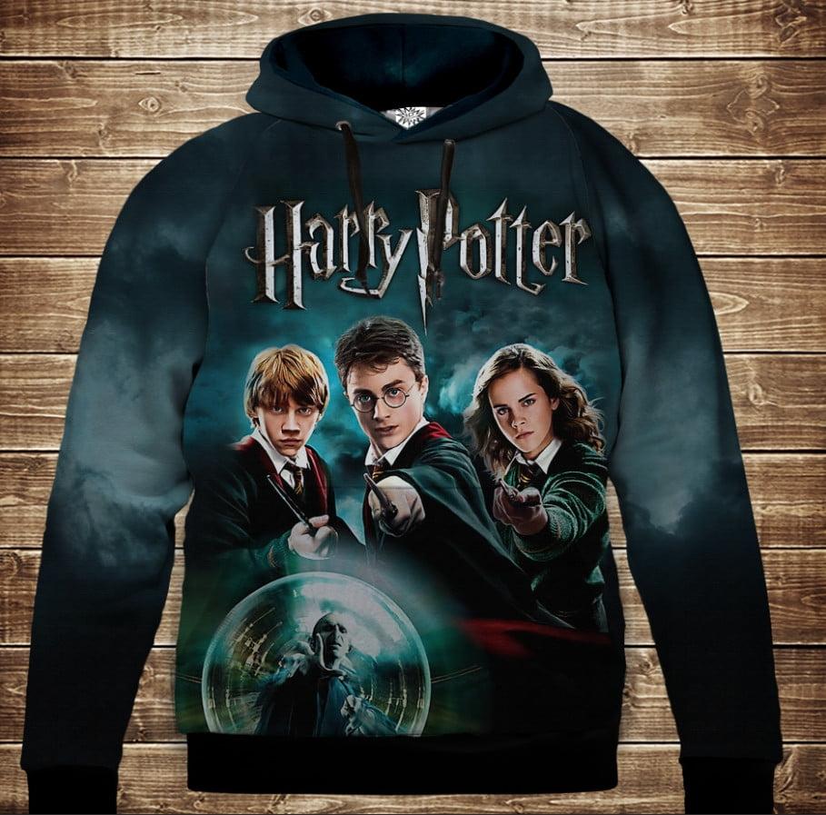 Толстовка с 3D принтом на тему: Гарри Поттер и Хогвартс. Магия Детские и взрослые размеры