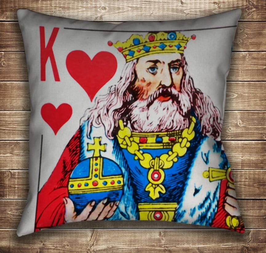 Подушка с принтом на тему: Карты игральные. Червовый Король