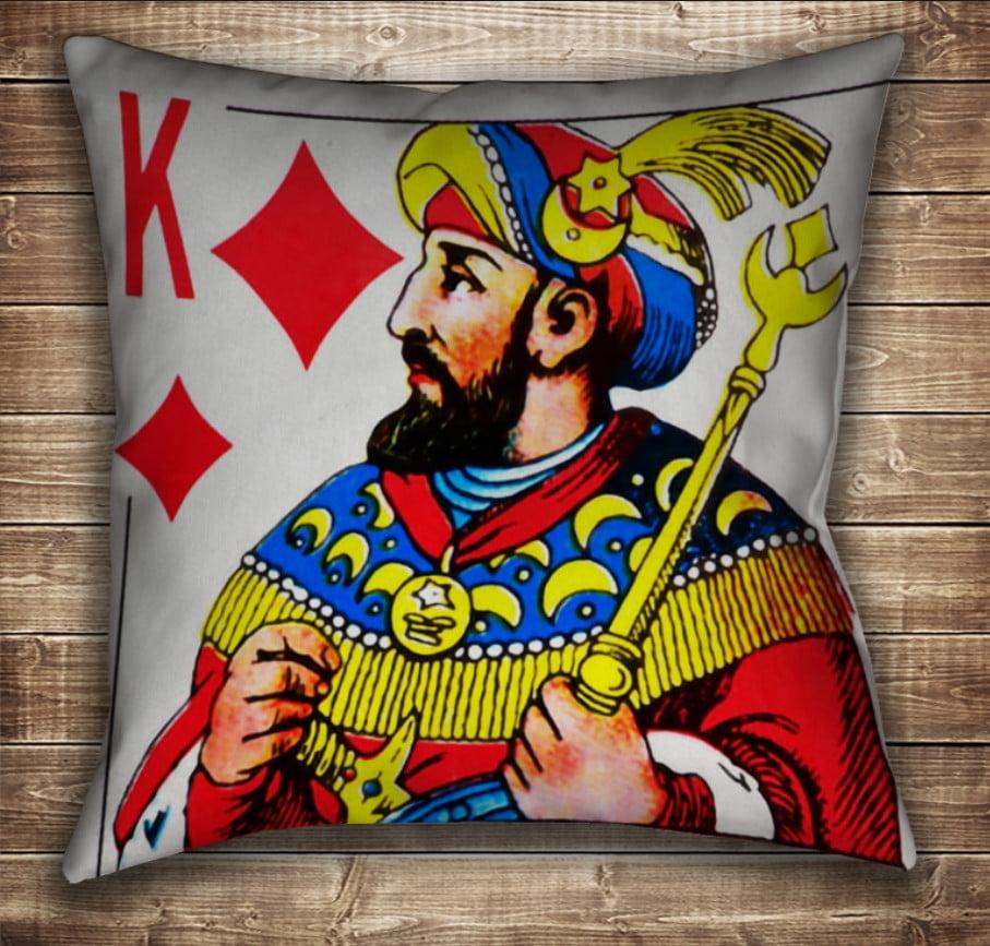 Подушка с принтом на тему: Карты игральные. Бубновый Король