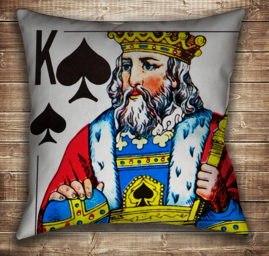 Подушка с принтом на тему: Карты игральные. Пиковый Король