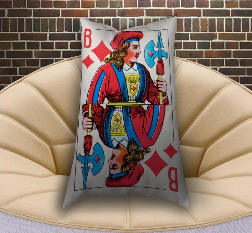 Подушка ростовая с 3D принтом на тему Карты игральные. Бубновый валет (70х50)