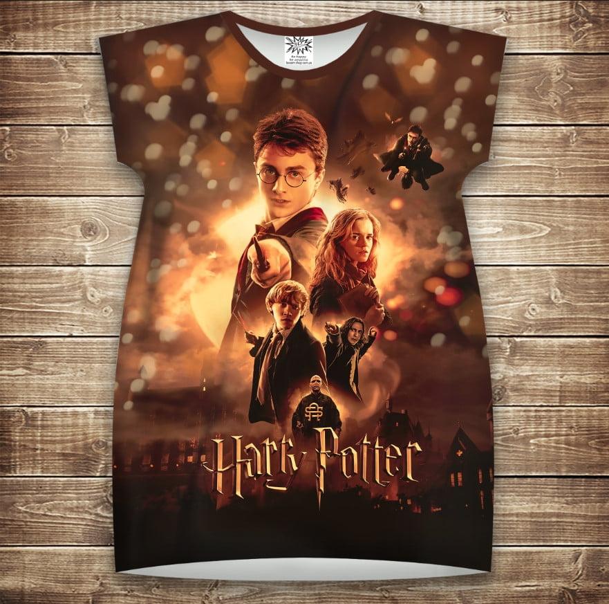 Платье-туника с 3D принтом Гарри Поттер Огонь и битва взрослые и размер