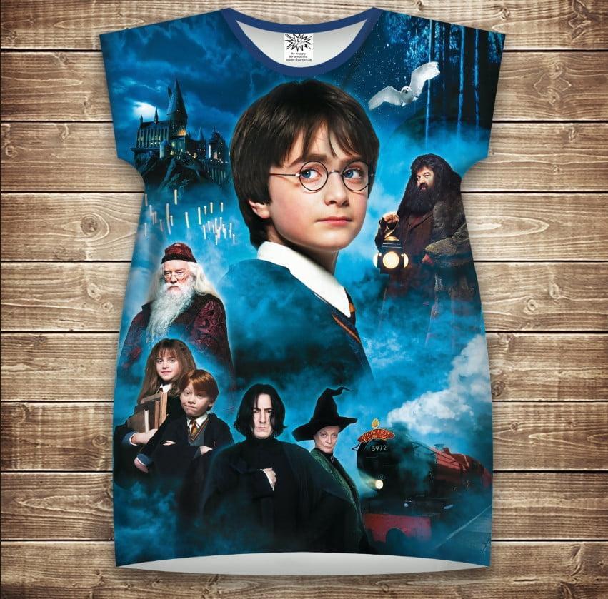 Платье-туника с 3D принтом Гарри Поттер и Философский Камень взрослые и размер