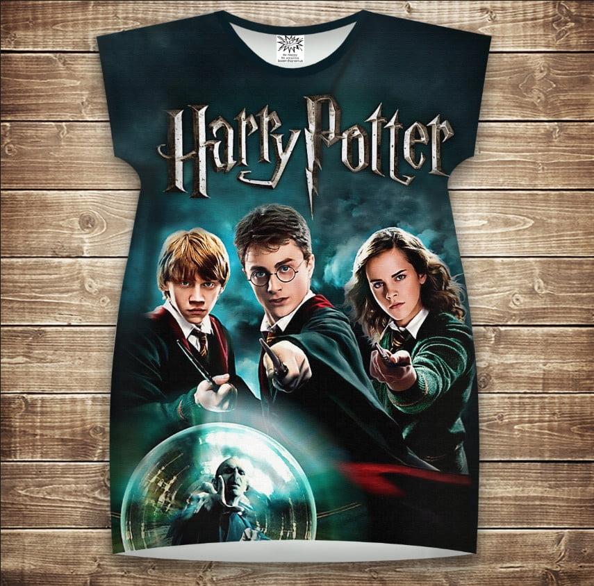 Платье-туника с 3D принтом Гарри Поттер и Хогвартс. Магия взрослые и размер