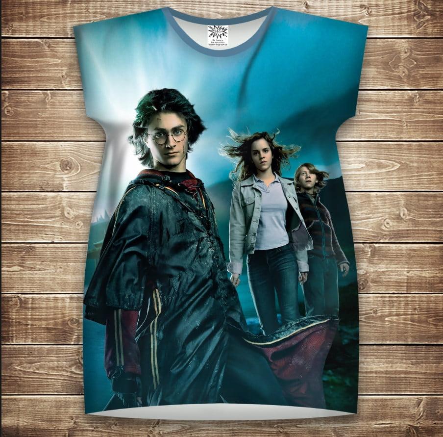 Платье-туника с 3D принтом Гарри Поттер Рассвет и Магия взрослые и размер