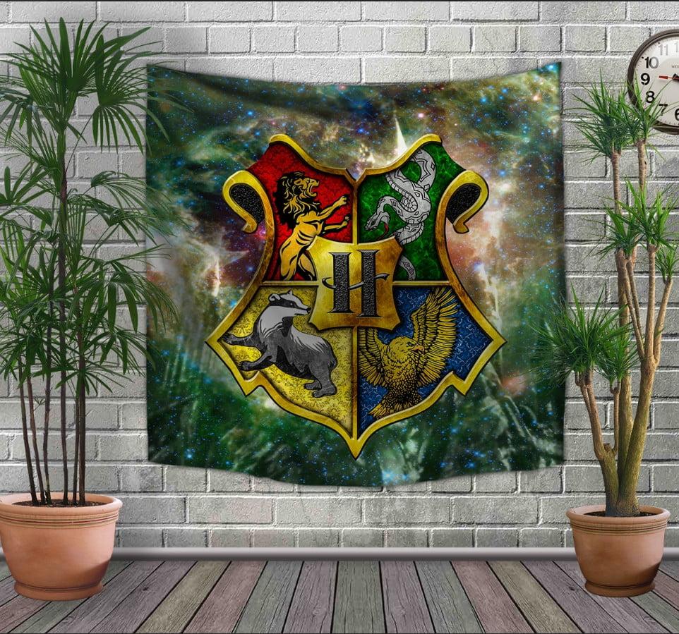 Панно-тапестри(гобелен) с 3D с принтом Гарри Поттер. Факультеты Хогвартса