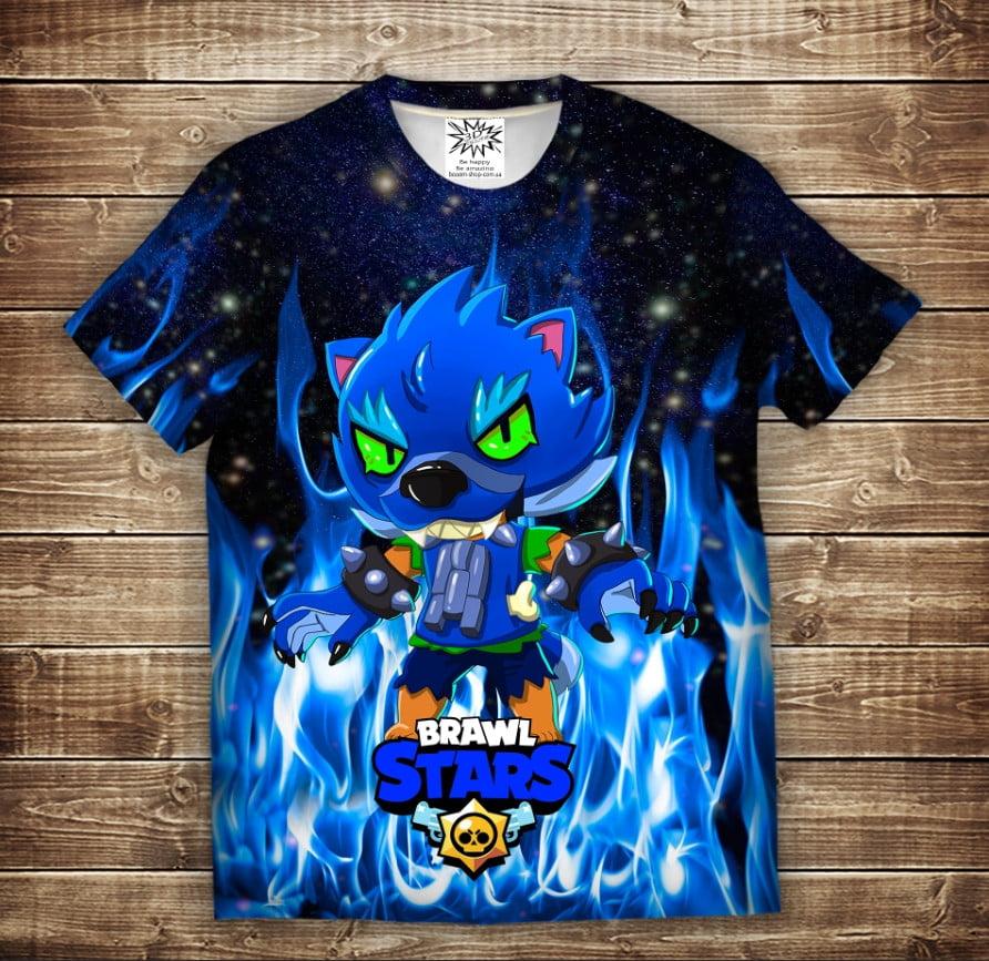 Футболка с 3D принтом на тему: Leon Werewolf in Blue Fire Brawl Stars Детские и взрослые размеры