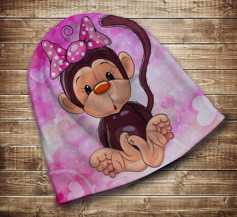 Шапка с 3D принтом на тему - Веселые обезьянки Розовый Все размеры и сезоны