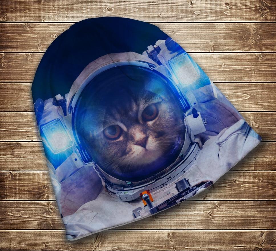 Шапка с 3D принтом на тему - Кот в скафандре. Кот Космонавт. Все размеры и сезоны