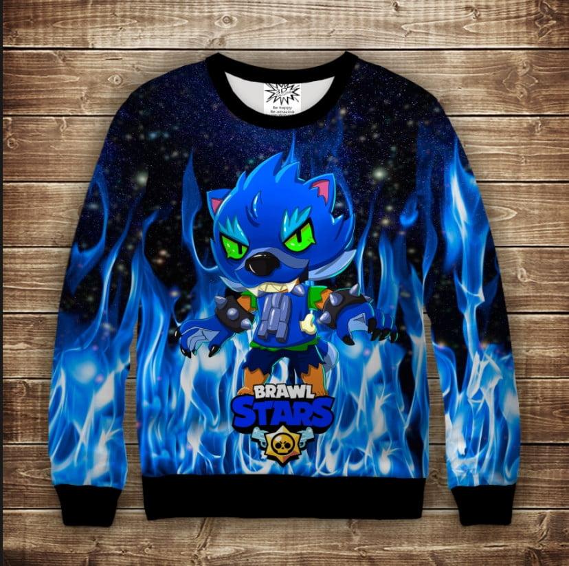Свитшот 3D Brawl Stars Leon Werewolf in blue fire
